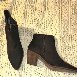 Lucky brand black suede bootie boots sz 7 1/2
